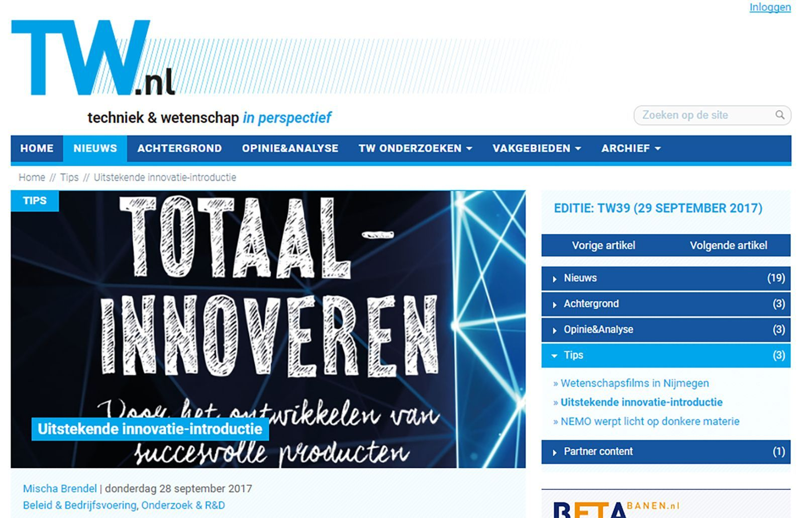 Technisch Weekblad - Leo Haffmans - Totaalinnoveren